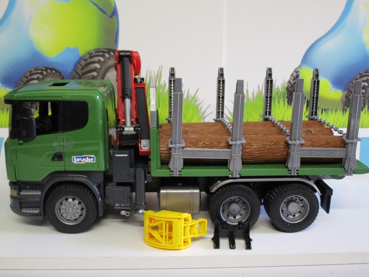 Camion Scania transport de bois avec grue (03524, Bruder) 5950  ~ Camion Transport De Bois