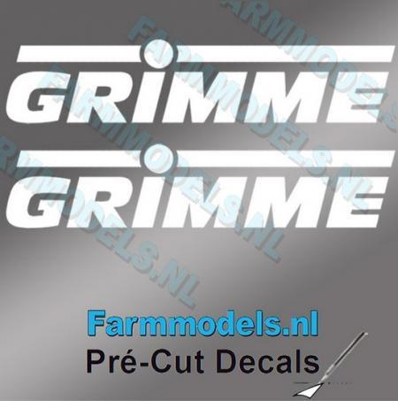 2 weiße GRIMME Logosticker 8mm (vorgeschnitten)
